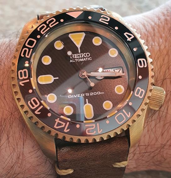 Exclusivo Relógio Seiko Skx007 Modificado, Em Bronze