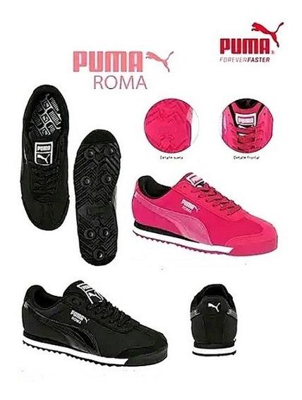 Tenis Puma Original Dama Mod. Puma Roma Colores Negro Fucs