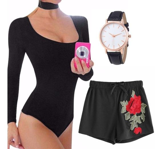Short Feminino Aplique Bordado Flor Preto + Body + Relógio Tam G