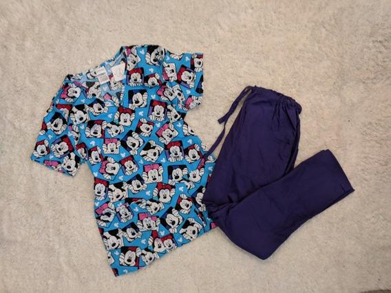 Uniforme Medico 2 Pzas Disney Xs Mickey Mouse Azul Morado Xs
