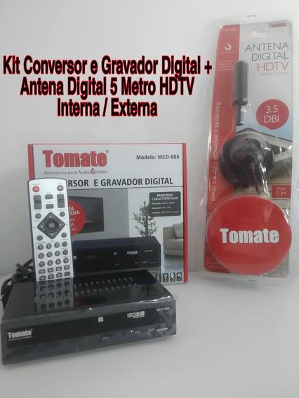 Conversor E Gravador Digital Com Antena 5 Metros Hdtv Tomate