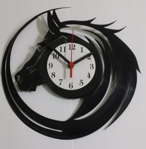 Relógio De Parede Em Disco Vinil Personalizado Cavalo