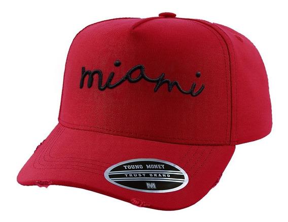 Boné Young Money Miami Vermelho Curva Aberto Ajuste Atrás