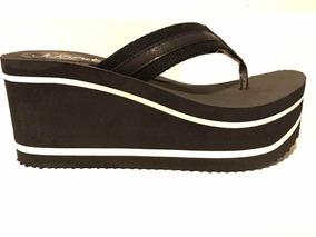 Ojotas Altas livianas sandalias plataformas Negras Alto taco xedroCB