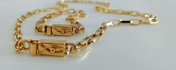 Cordão 70cm + Puls + Placa Letra Banhados A Ouro