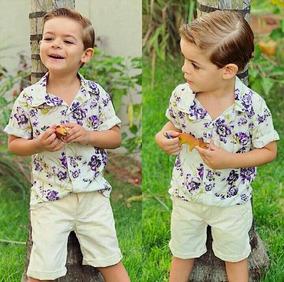 Conjunto Infantil Masculino Camisa Linho E Short Lançamento