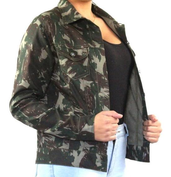 Jaqueta Jeans Sarja Feminina Camuflada Militar