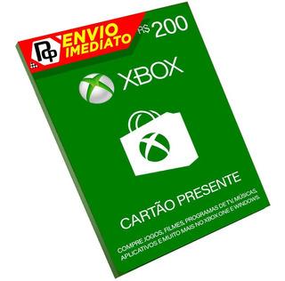 Cartão Xbox R$200 Reais Microsoft Brasil, 360,one E Windows!