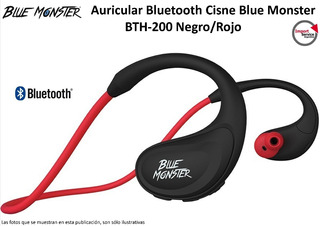 Auricular Bluetooth Cisne Blue Monster Bth-200 Negro/rojo