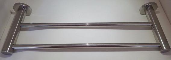 Toalheiro Jasmim Redondo 3/8 Duplo 45cm Inox Polido - Metais