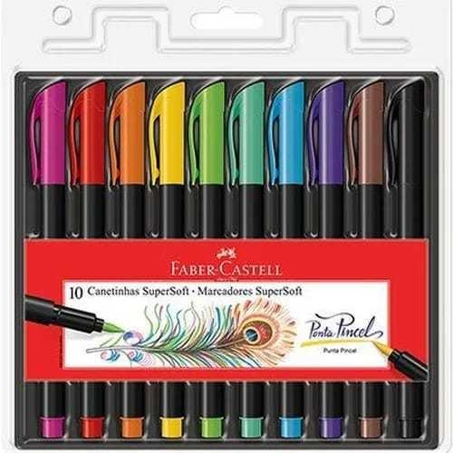 Caneta Brush Pen Pincel Faber Castell 10 Cores Lançamento