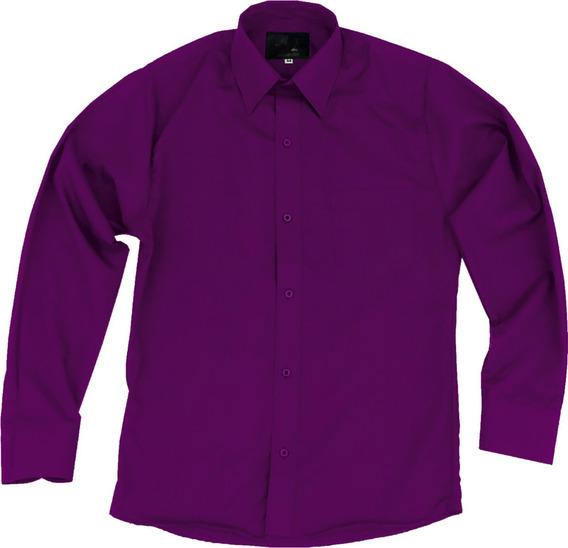Camisa Vestir Infantil Juvenil Bailables Morada 2 A 16
