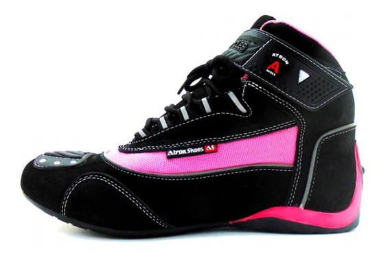 Tênis De Motociclista Cano Alto C/ Refletivo Atron 310 Pink