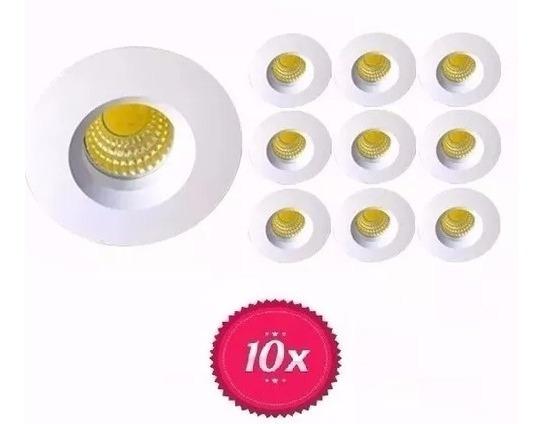 Kit 10 Mini Spot Embutir Led Redondo 3w Branco Frio