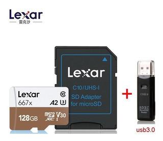 Cartão Memória Lexar 128gb 667x Uhs-i + Adaptador + Leitor