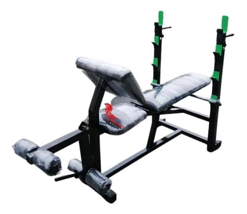 Imagen 1 de 2 de Banca Multifuncional Gym Con Rack Y Predicador