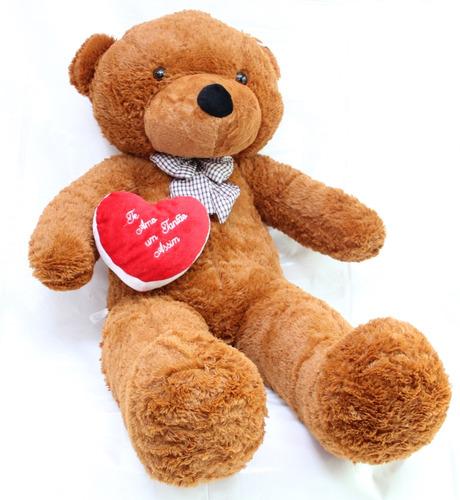 Imagem 1 de 6 de Urso Romântico Marrom Choco Cacau 1,30 Mts 130cm + Coração