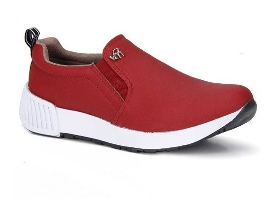 Tênis Feminino Casual Via Marte Slip On Jogging Bordo