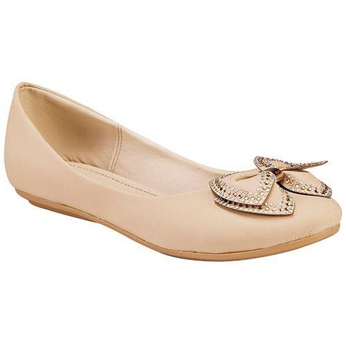 Zapato Casual Para Dama Color Beige Con Moño Miss Pink