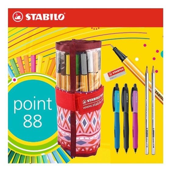 Caneta Stabilo Com 25 Cores + 3 Canetas + 2 Lápis + Borracha