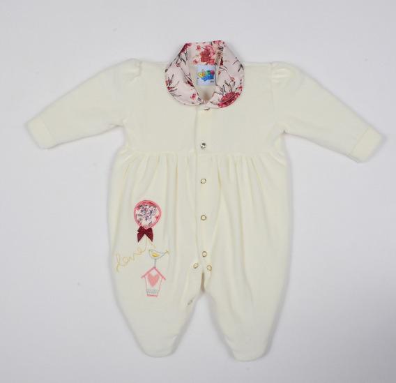 Macacão Bebê Menina Plush Creme