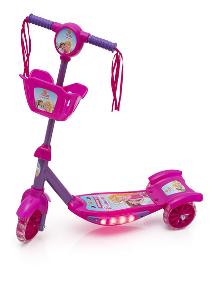 Patinete 3 Rodas Infantil Musical Com Luzes E Cesta