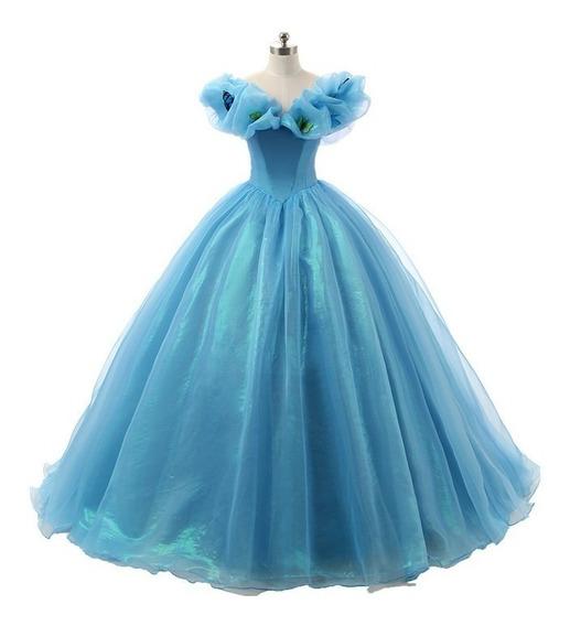 Vestido De 15 Cenicienta-personalizado Azul Largo Selena69