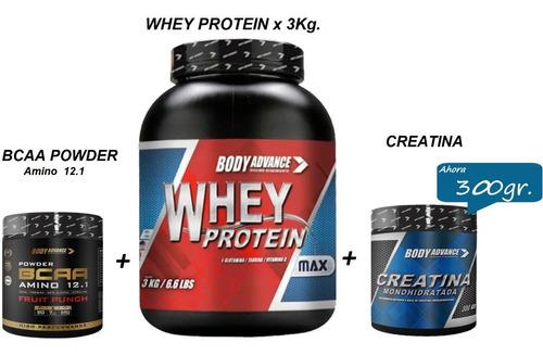 Whey Protein 3 Kg + Bcaa Amino 12.1 + Creatina. Body Advance