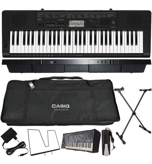 Kit Teclado Casio Musical 61 Teclas Ctk-3500 Com Pedal