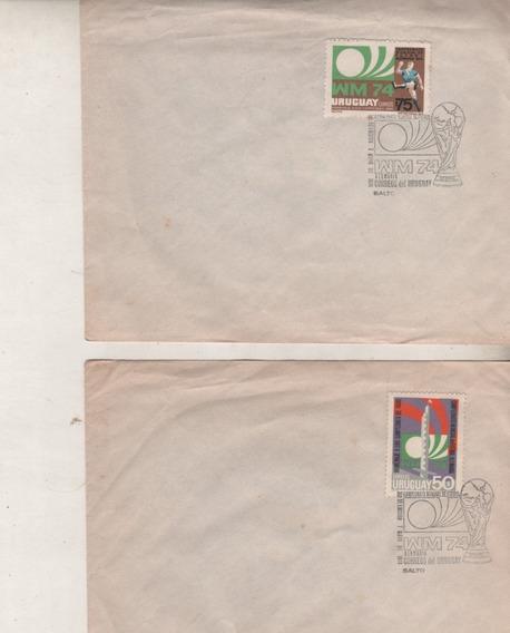 2 Sobres De Uruguay - Mundial De Alemania - Año 1974
