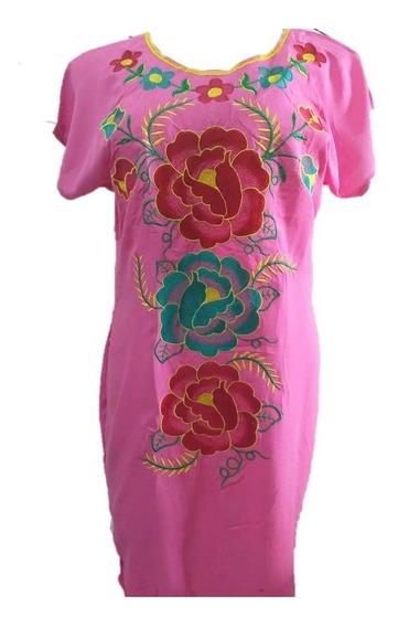 Elegante Vestido Rosa Artesanal Promocion