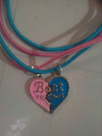 Colares Best Friends Cordão Elástico Rosa+ Azul Amizade
