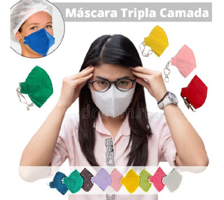 5 Máscaras Respiratórias Lavável Tripla Camada Filtrante M