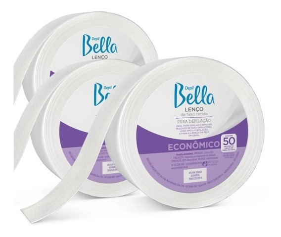 Kit C/ 03 Rolos - Lenço Tnt Depilatório Depil Bella 50m