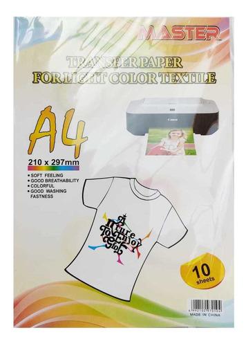 Papel Transfer A4 10 Hojas Textil Claro / Tranferencia