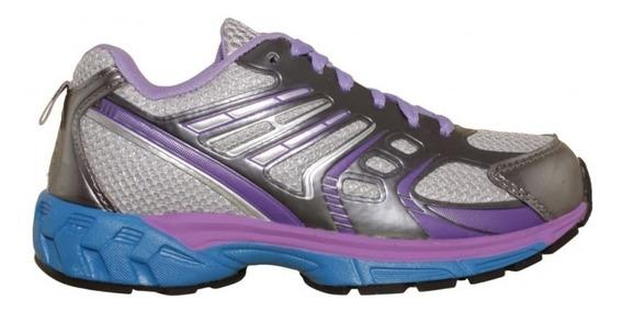 Tenis Para Correr Mujer Marca Galaxy Textil Gris Lila 3776