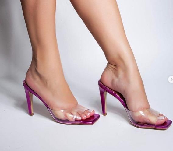 Sandália Clássica Mule Metalizado 2020 Salto 11cm
