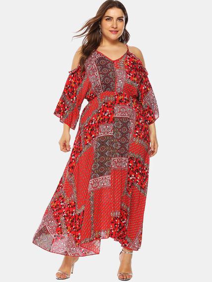 Vestido Bohemio Para Mujer, Tallas Grandes, Estampado Floral