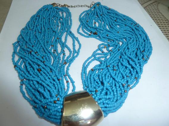 Gargantilha Colar 3000 Missangas Azul Intercaladas Bronze