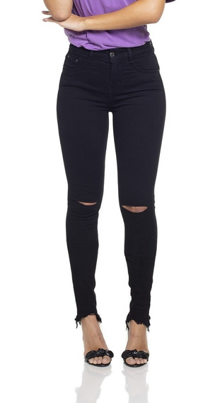 Calça Fem Skinny Média Rasgos Black And White Dz-dz2694-12