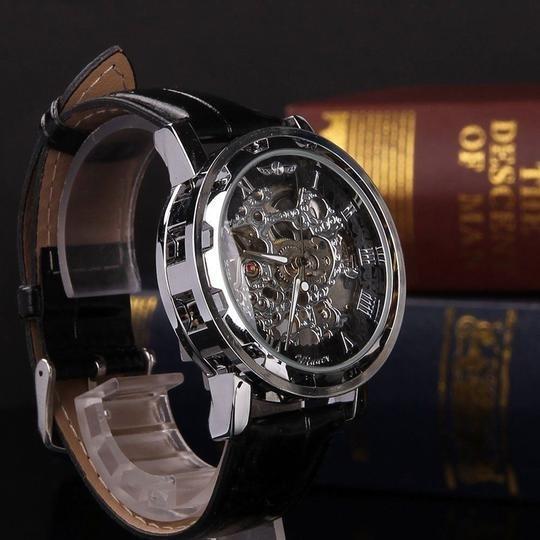 Relógio Winner Skeleton Pulseira Couro Preto Winner