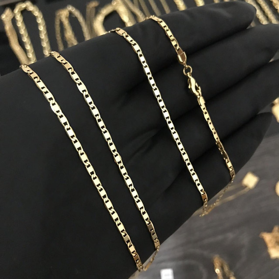 Cordão Piastrine, 70cm Banhado A Ouro 18