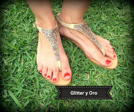 Sandalias Mujer 100% Cuero, Glitter Importado