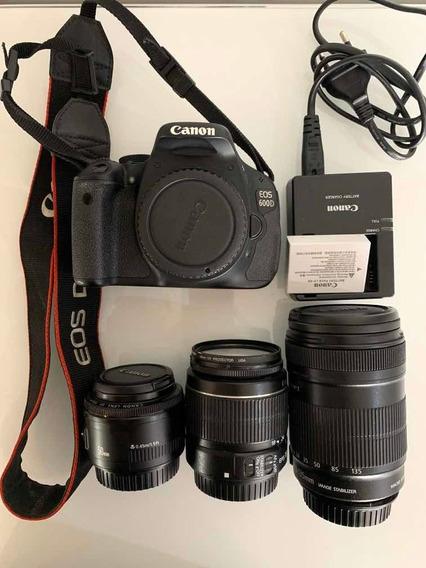 Câmera Canon T3i (europa Eos 600d)+ 3 Lentes+ 3 Filtros