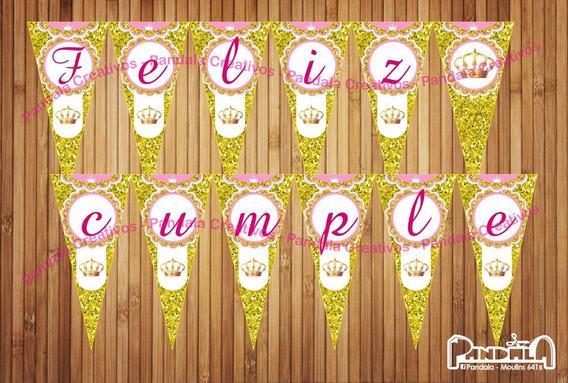 Coronitas Glitter Dorado Banderines Feliz Cumple