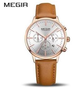 Relógio Feminino Luxo Megir Pulseira De Couro Pronta Entrega