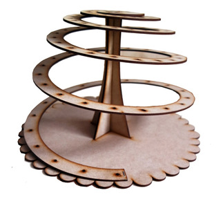 Base Candy Bar Cup Cake Escalera Espiral Torre Puente Madera