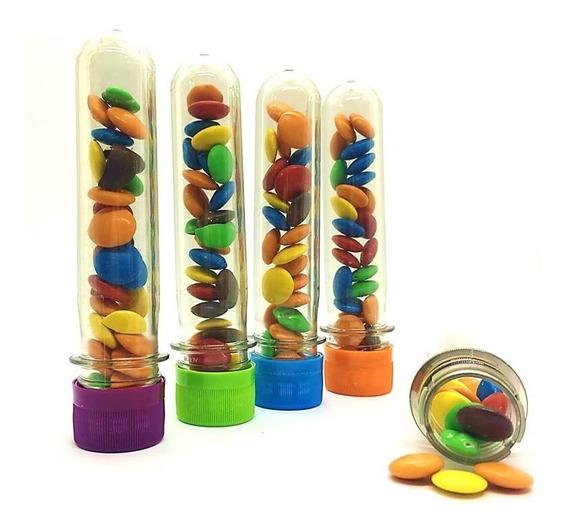 25 Tubos Golosineros 13cm Tapa Color Souvenir Cumples Candy