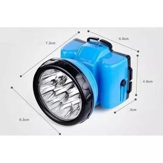 Lanterna De Cabeça 9 Leds 748 Recarregável - Azul
