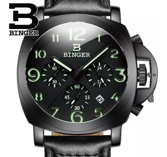 Relógio Ao Quartzo Binger, Cronógrafo Militar.